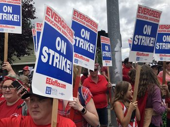Evergreen strike rally