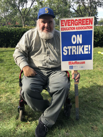 Michael Sanders Evergreen strike rally
