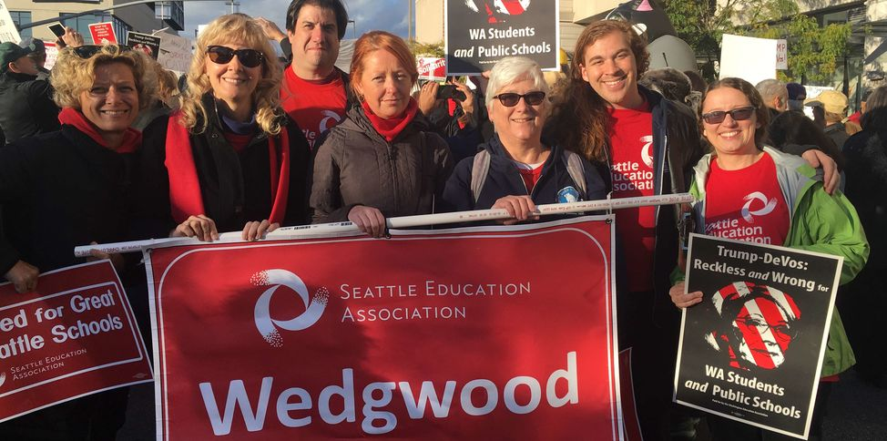 Seattle EA Wedgwood elementary DeVos rally