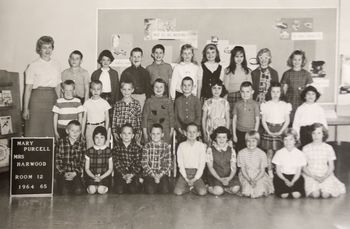 Cindy Omdal Brune in second-grade class photo at Mary Purcell Elementary School.
