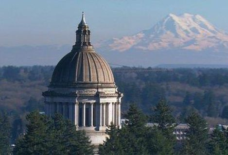 WA Capitol and Mount Rainier