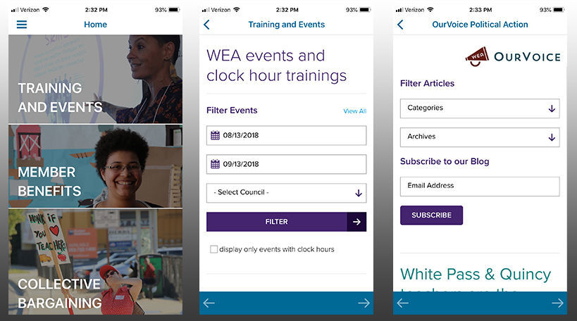 Three screenshots of the WEA app interface.